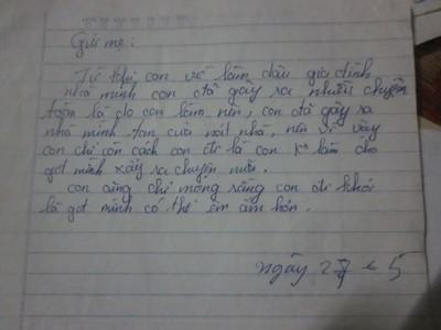 Lá thư của cô vợ trẻ để lại trước lúc bỏ nhà ra đi mà ông Phượng từng nhận được trong một vụ hòa giải.