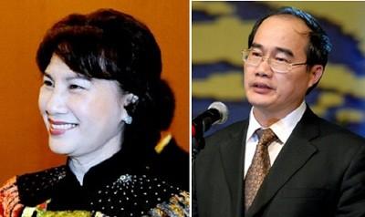 Bà Nguyễn Thị Kim Ngân và ông Nguyễn Thiện Nhân được bầu vào Bộ Chính trị