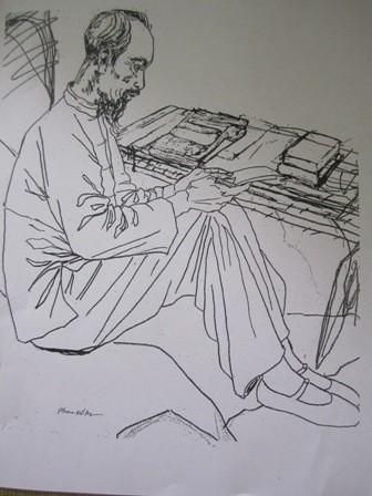 Bác qua nét ký họa của họa sỹ Phan Kế An