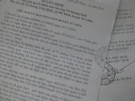 Quyết định số 2662/QĐ-UBND của UBND huyện Từ Liêm về việc giải quyết khiếu nại của ông Vũ Quang Suốt