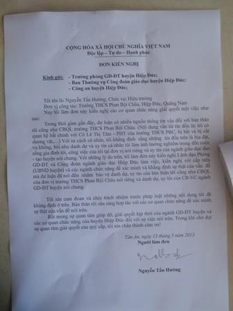 Đơn kiến nghị gửi các cơ quan chức năng huyện Hiệp Đức của ông Nguyễn Tấn Hường.