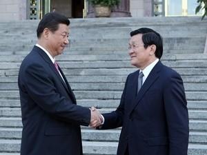 Chủ tịch nước Cộng hòa Nhân dân Trung Hoa Tập Cận Bình đón Chủ tịch nước Trương Tấn Sang.