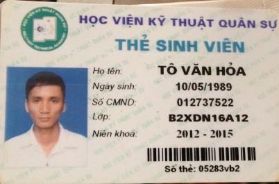 Thẻ sinh viên của Tô Văn Hỏa.