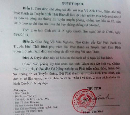 Giám đốc Đài PT-TH tỉnh Thái Bình Vũ Anh Thao bị đình chỉ công tác vì lơ là thông tin chống bão số 2