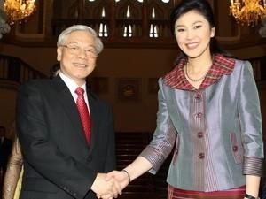 Thủ tướng Thái Lan Yingluck Shinawatra đón Tổng Bí thư Nguyễn Phú Trọng.